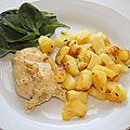 Poulet au four à la moutarde, pommes de terre sautées et salade (recette qui toque)