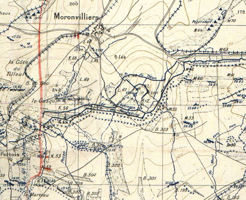 Moronvilliers, sud, carte état-major, 1917