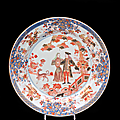 Plat rond décoré dans la palette imari du gouverneur duff et son épouse. chine de commande. premier tiers du xviiième siècle