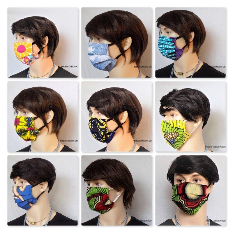 Original Masque, Protection visage en tissu en Coton T:18.5 cm wide, 9cm Long Extensible à 17cm belicious-delicious-c