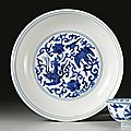 A blue and white dish, Jiajing mark and period (1522-1566)