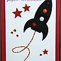 carte d'anniversaire garçon avec fusée