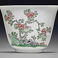 A fine famille verte wine cup, kangxi period (1662-1722)