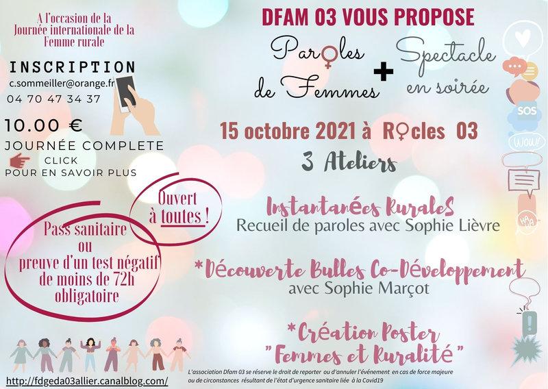 """15 octobre 2021 """"Instantanées Rurales-Paroles de Femmes"""" Ouvert à toutes les femmes du monde rural Venez nombreuses !"""