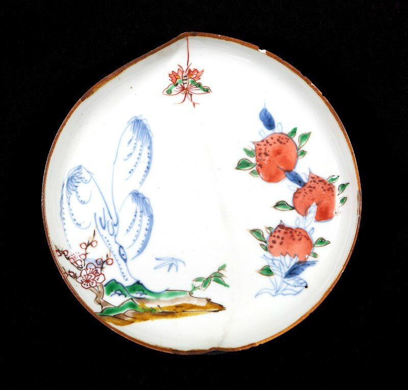 Dish in the form of a peach with willow, butterfly, and peaches, Ming Dynasty, Chongzheng Period, 1630 - 1644