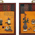 A magnificent and extremely rare pair of embellished lacquer panels, qing dynasty, qianlong period (1736-1795)