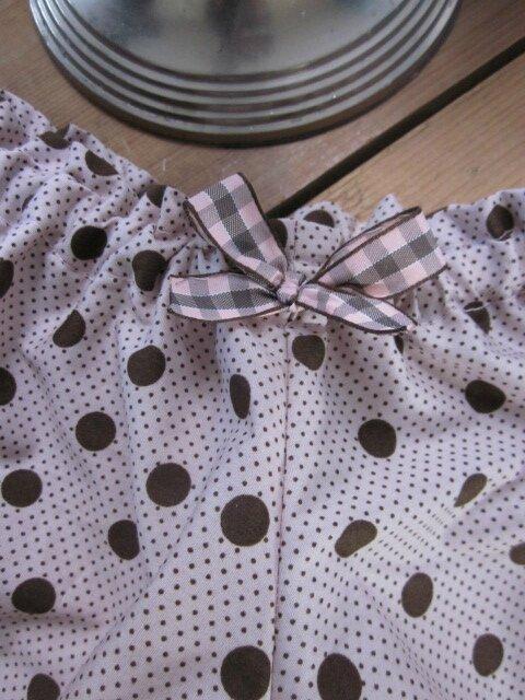 Culotte BIANCA en coton rose à pois chocolat - noeud vichy rose et beige (2)
