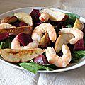 Salade de betteraves aux crevettes et poire