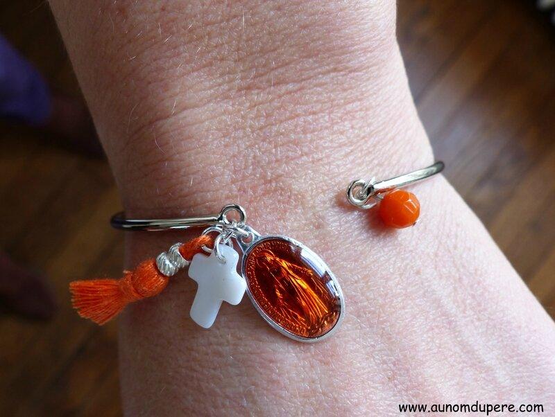 Bracelet Nazareth (orange et argenté) -017