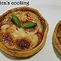 Tartelette au pesto de courgette, tomate et mozzarella {pâte allégée}
