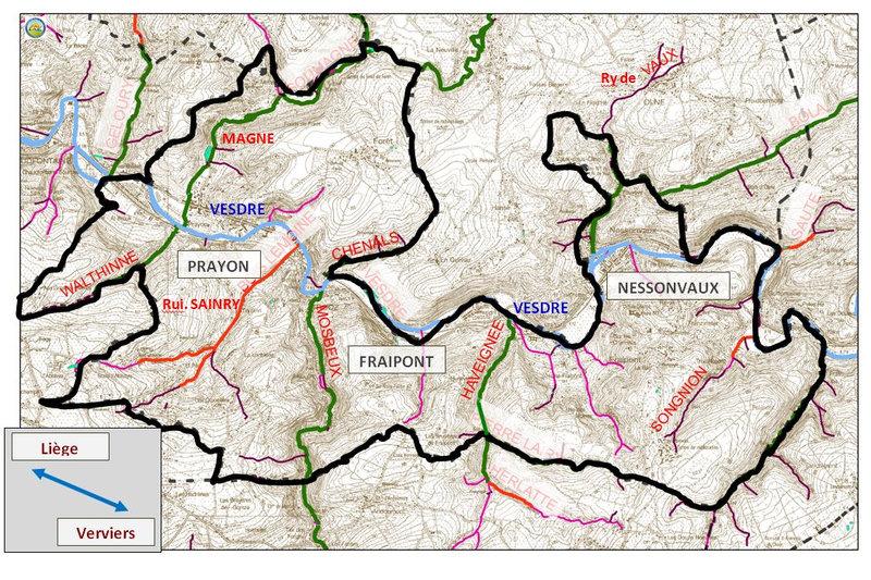 carte affluents Vesdre - Trooz