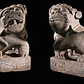 A pair of large marble buddhistic lions, ming dynasty