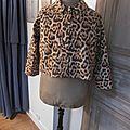 Veste VICTORINE en toile de coton imprimé léopard - Doublure de satin noire (18)