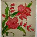 Tableau fleurs les orchidées peint sur toile de jute