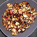 Salade de champignons radis & tofu aux noisettes