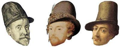 Chapeau avec rebord ou visière années 1580-1590