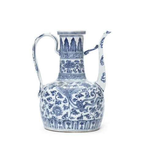 A large blue and white ewer, Hongzhi period, circa 1500
