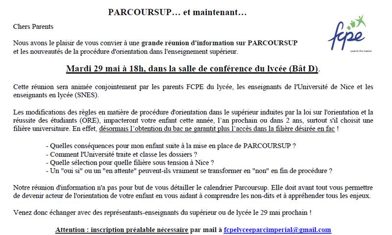 PARCOURSUP...QUE FAIRE APRES LE 22 MAI - FCPE lycée Parc Impérial Nice 8684e09c864a