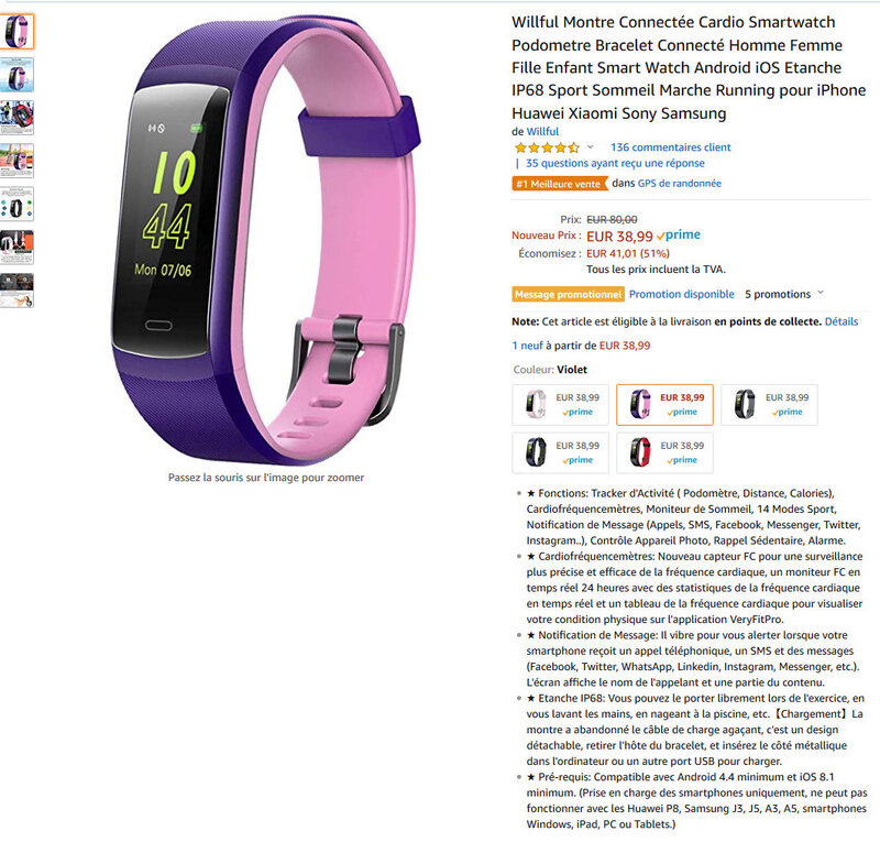 Screenshot_2019-01-24 Willful Montre Connectée Cardio Smartwatch Podometre Bracelet Connecté Homme Femme Fille Enfant Smart[