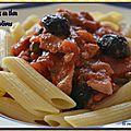 Pennes au thon, câpres et olives