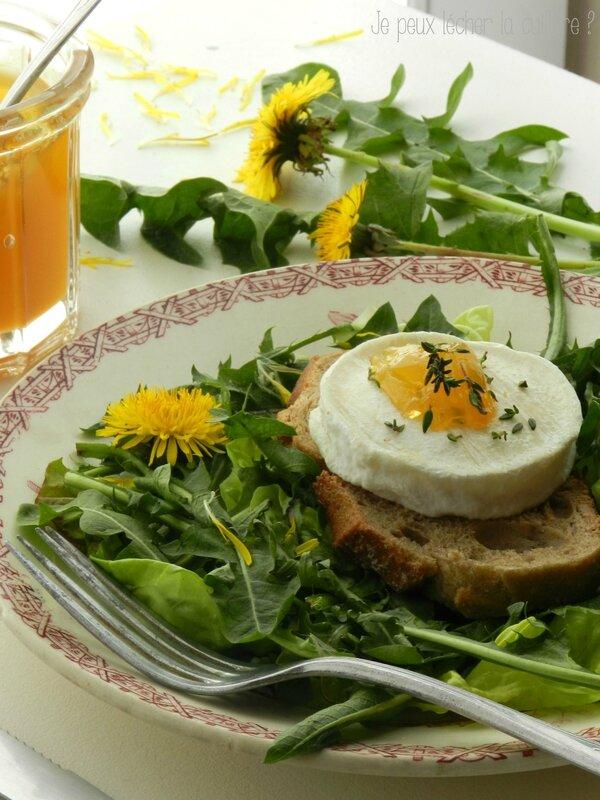 Salade de pissenlit tartine de chèvre 2
