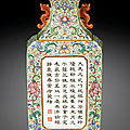 A lime-green ground famille-rose wall vase, seal mark and period of qianlong (1736-1795)