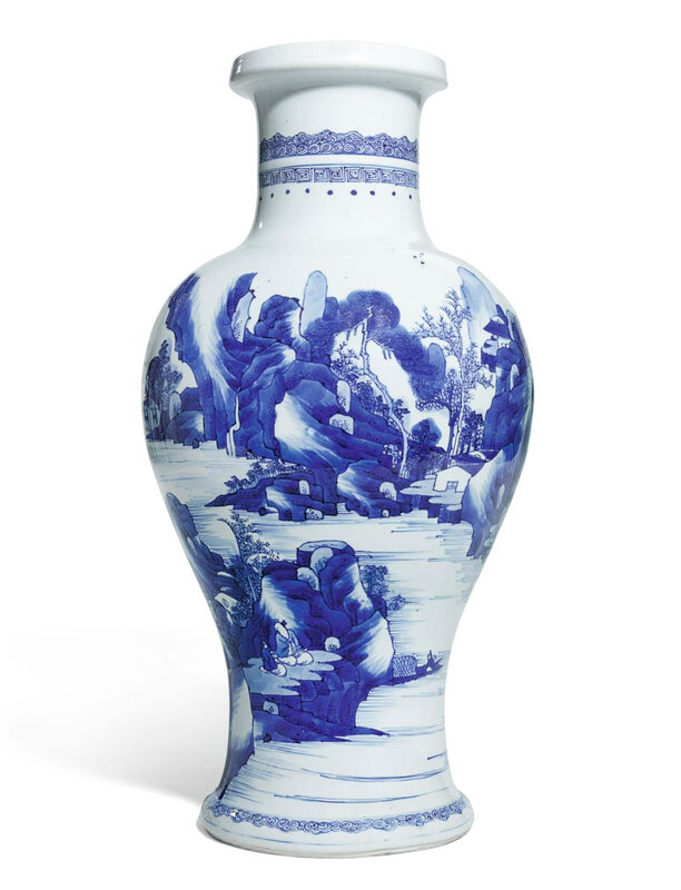 A blue and white 'Landscape' vase, Qing dynasty, Kangxi period (1662-1722)