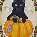 Le chat noir et sa citrouille : (peinture a l huile)