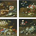 Studio of jan van kessel the elder (antwerp 1626 – 1679), four still lifes with fruits and flowers in baskets and glass vases, g