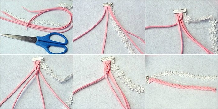 Easy-Tutorial-on-How-to-Make-a-Pink-Braided-Bead-Bracelet-with-Suede-Cord-step-1