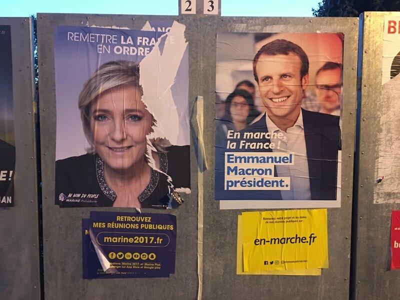 panneau affichage Avranches Emmanuel Macron Marine Le Pen présidientielle 1er tour 2017