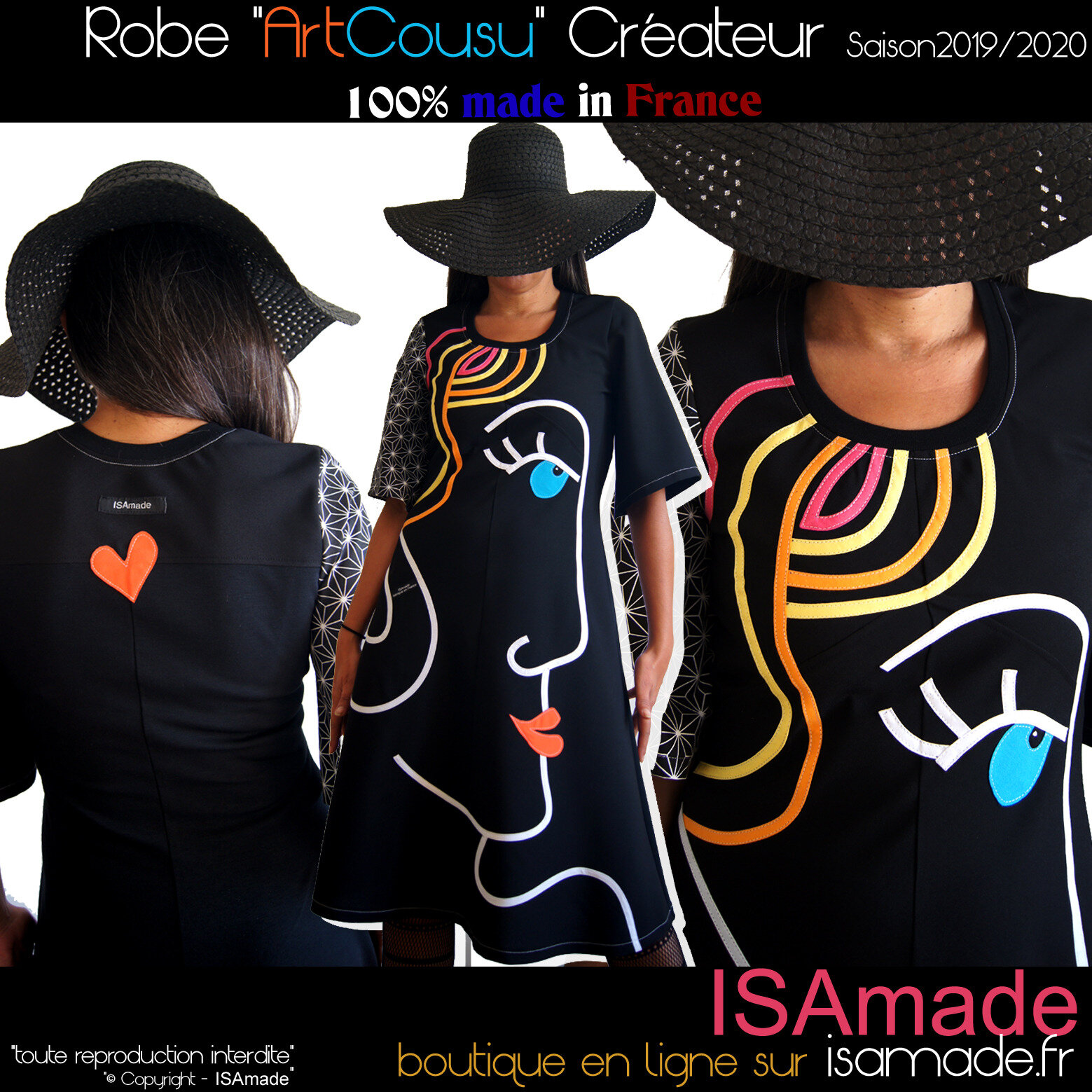 Robe Créateur Arty multicolore noire made in France