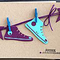 25. kraft, turquoise et violet - baskets suspendues