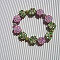 bracelet fleur rose et vert