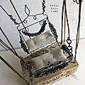 Balançoire fil de fer, lin, bois, papier, récup' (3)