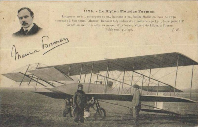 CPA Biplan Maurice Farman