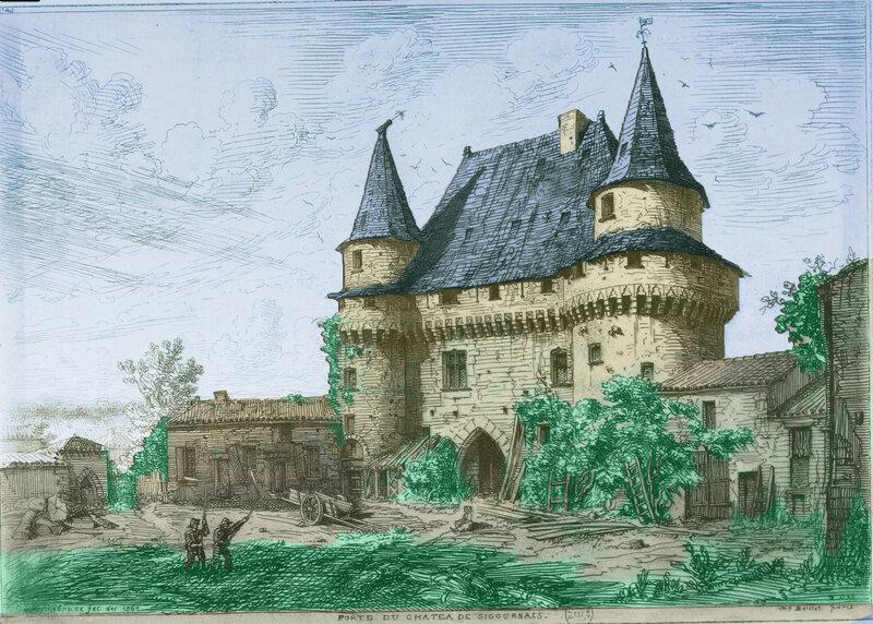 Château de Sigournais Estampe par Octave Rochebrune, 1860