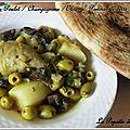 Tajine de poulet / champignons / olives / pommes de terre