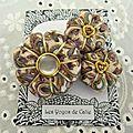 ♥ elda ♥ broche textile élégante beige fleurs potirons - les yoyos de calie