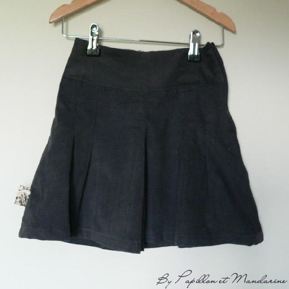 Jupe culotte, velours anthracite