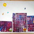 Ma ville en automne - peinture avec une raclette très simple à réaliser