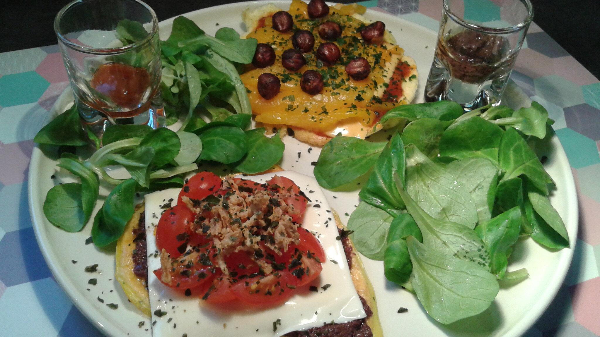 Cloud Bread looké pizza : poivron jaune-cheddar et barbecue, tomates cerises-parmesan et tapenade