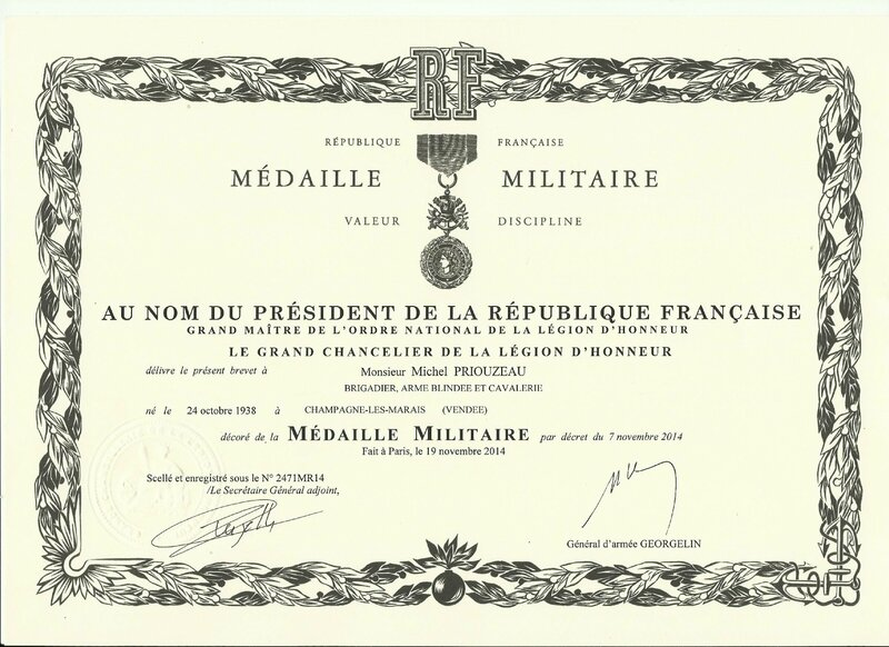 diplome militaire MM PRIOUZEAU