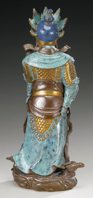 An enamel and gilt-decorated porcelain figure of Weituo, Qing dynasty, 18th-19th century4