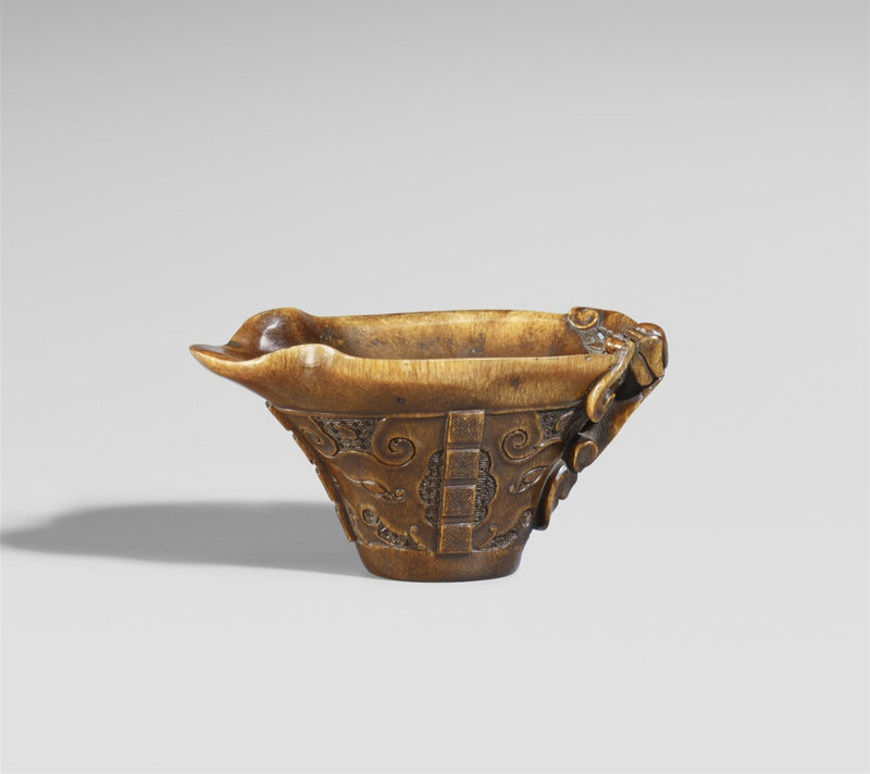 A libation cup of rhinoceros horn, 19th-20th century
