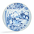 A blue and white 'landscape scroll' charger, kangxi period (1662-1722)