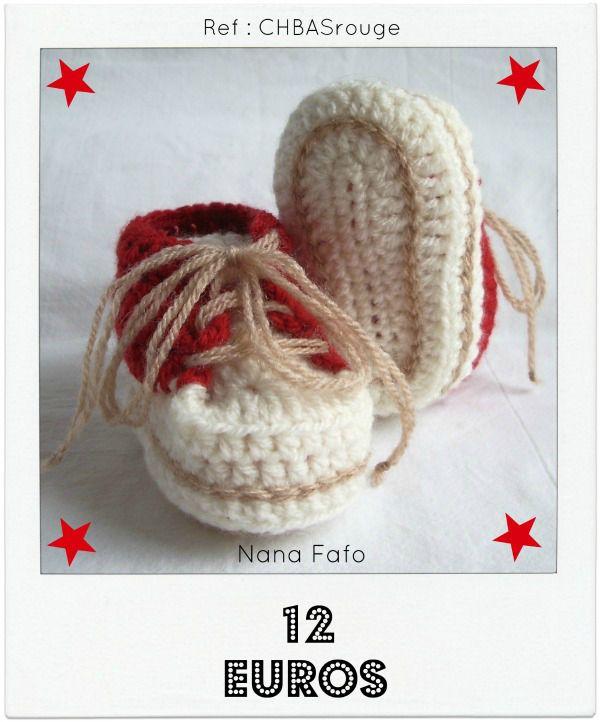 Chaussons bébé crochet basket rouge