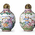 A rare and finely painted Guangzhou enamel 'European-subject' snuff bottle, Imperial, Guangzhou Workshops, Qianlong four-character mark in blue enamel and of the period (1736-1795)