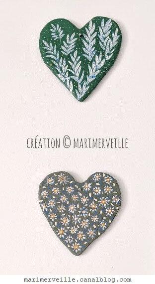 Coeurs en bois décor main, créations marimerveille