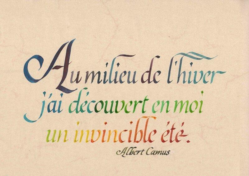 été au coeur de l'hiver, A Camus, callig Xavier Piton
